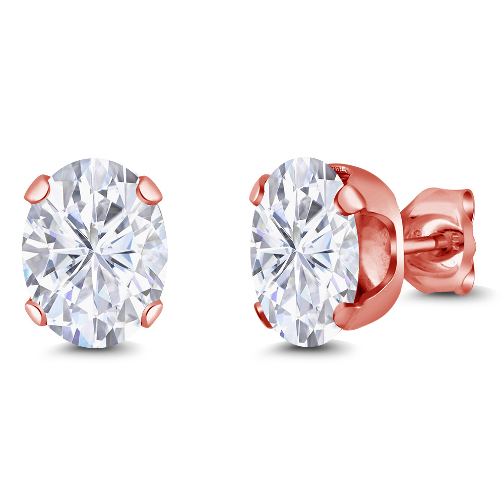 2.66 Ct 8x6mm White Created Moissanite 18K Rose Gold Plated Silver Stud Earrings