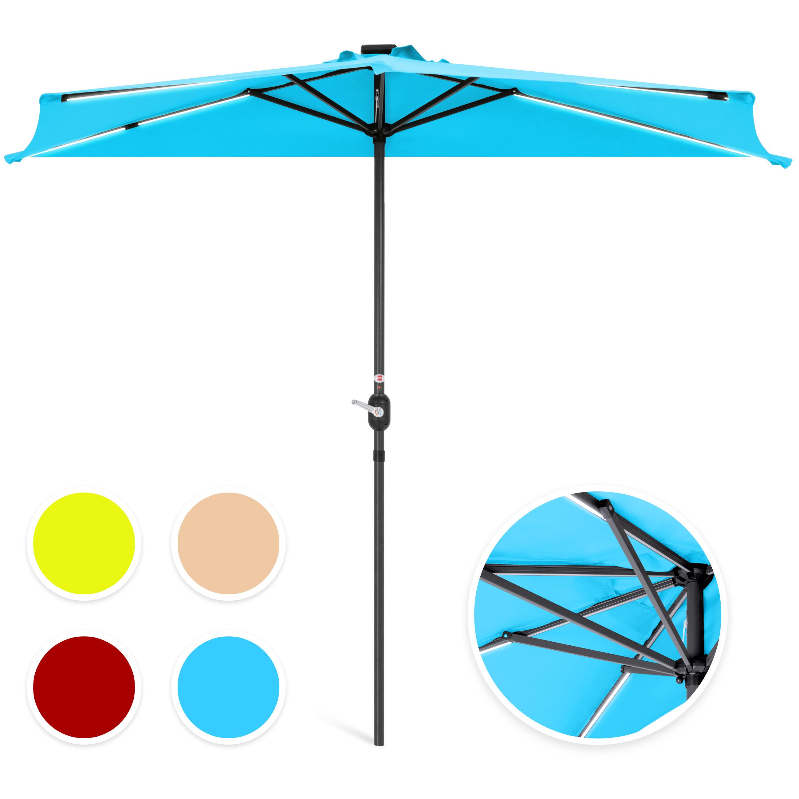 Best Choice Products 8.5ft Solar LED Strip Lighted Half Patio Umbrella - Tan