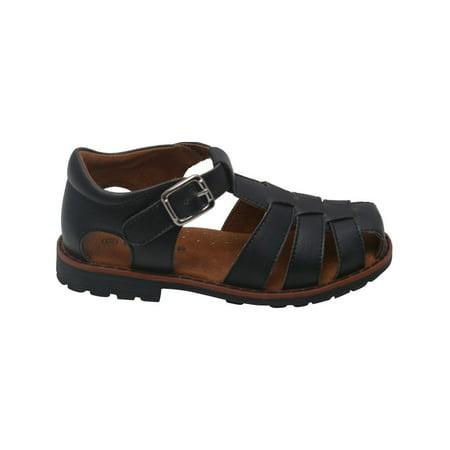 - Boys Black Lug Sole Buckle Strap Leather Fisherman Sandals 5-10 Toddler