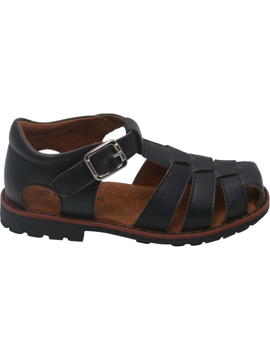 Boys Black Lug Sole Buckle Strap Leather Fisherman Sandals 5-10 Toddler