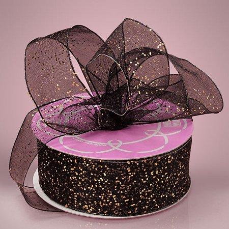 - Black 1-1/2 inch x 25 yards Gemstone Dust Sheer Glitter Sparkle Ribbon
