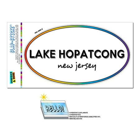 Lake Hopatcong, NJ - New Jersey - Rainbow - City State - Oval Laminated Sticker ()