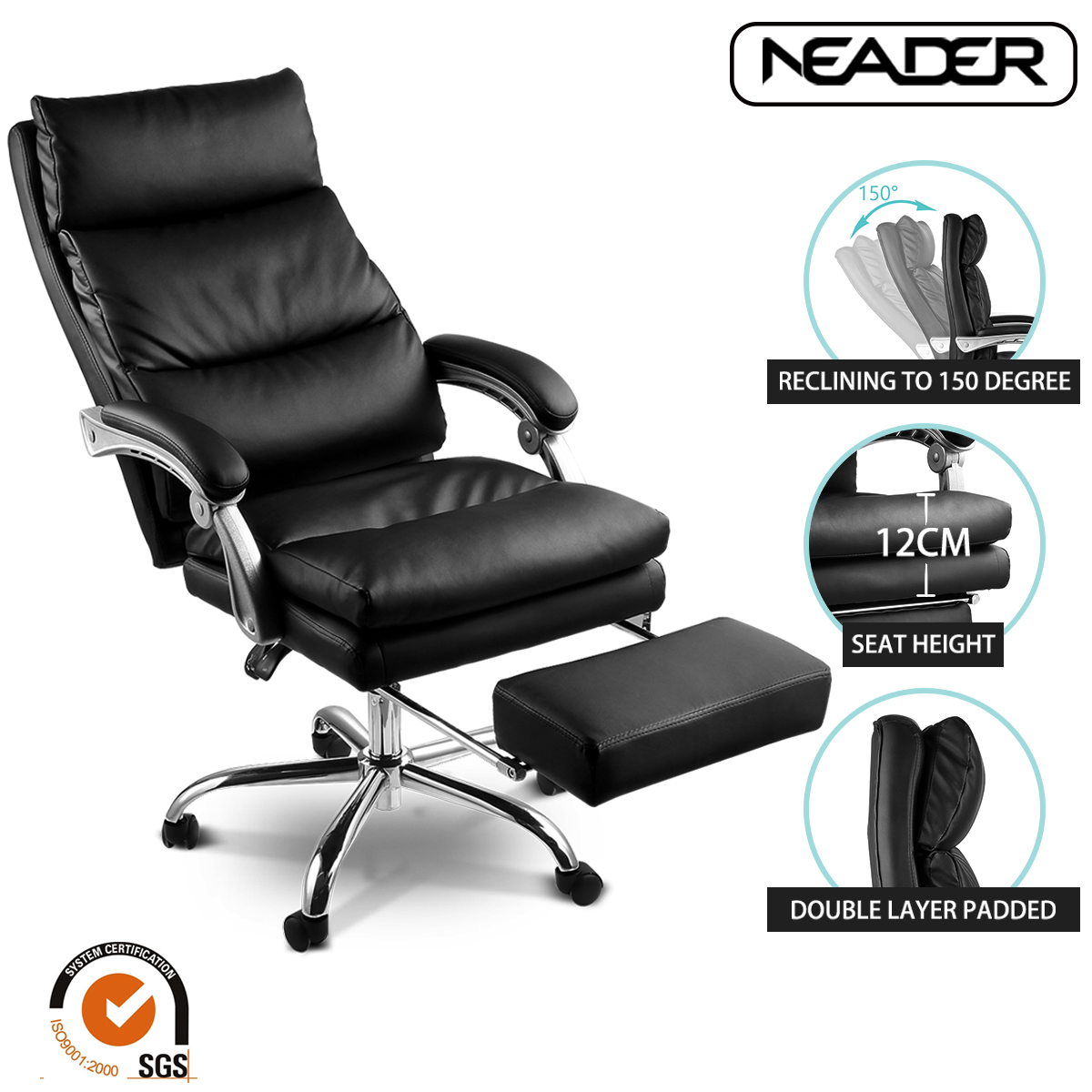 Executive Office Chair, High Back Faux Leather Ergonomic Reclining Computer  Chair With AIR BAG