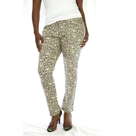 LP Womens Plus Size Leopard Cheetah Print Stretch Twill Denim Jeans Skinny Pants