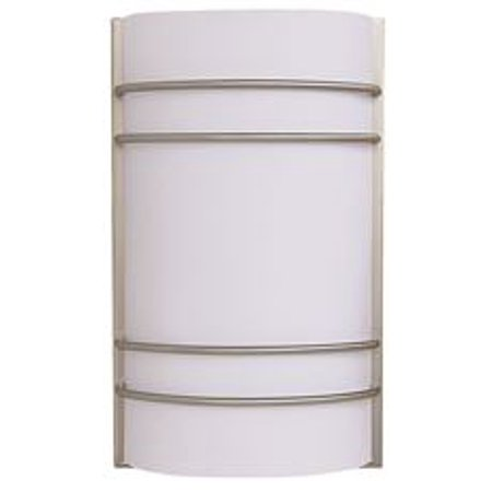 Decorative Wall Sconce Fixture With Two 26 Watt Gu24 Type Fluorescent Lamps, 7-1/2 In. Brushed Nickel With Accents