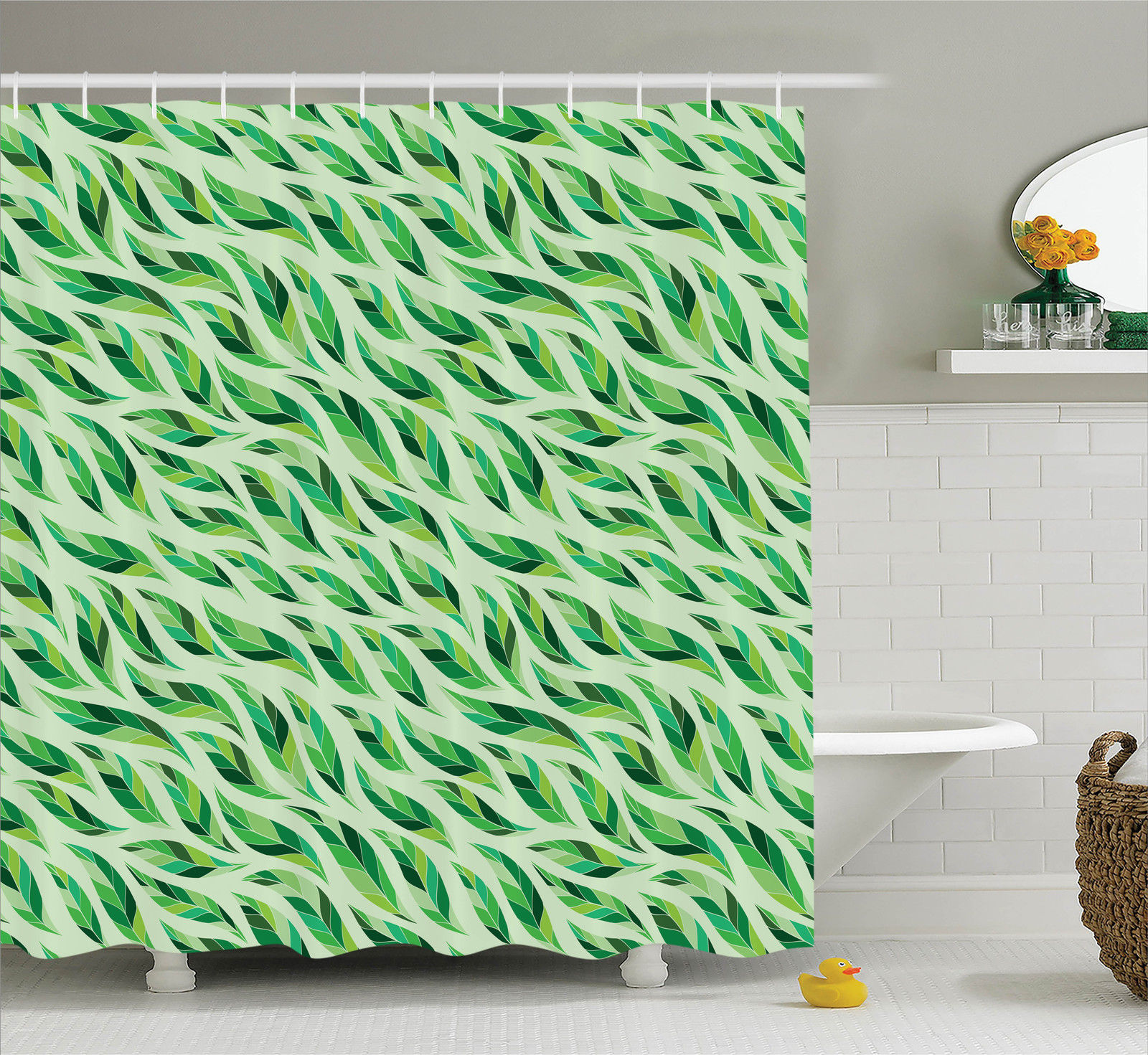 Leaves Decor  Ethnic Wavy Line Abstract Colorful Tea Leaves With Modern Illustration Patterns, Bathroom Accessories, 69W X 84L Inches Extra Long, By Ambesonne
