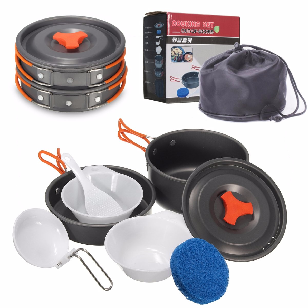 8 Piece Outdoor Cooking Kit Compact Lightweight Cookware Set Includes Pots Pan Bowls Spoon Sponge For Travel Camping / Backpacking / Hiking / BBQ / Survival For 1-2 people