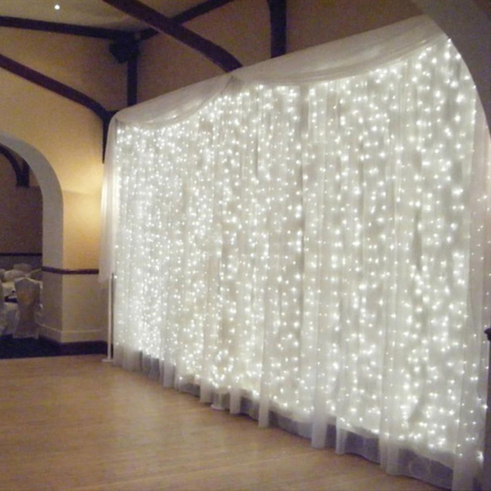 3mx3m White Waterproof Window Curtain Icicle Lights 300LED String Light Fairy Wedding Lamp Party Home Garden Decorations