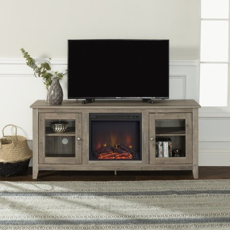 Walker Edison Grey Wash Fireplace Tv Stand For Tvs Up To 64