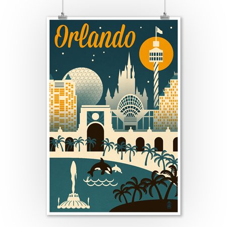 Orlando, Florida - Retro Skyline - Lantern Press Artwork (9x12 Art Print, Wall Decor Travel (The Florida Mall Orlando Florida)