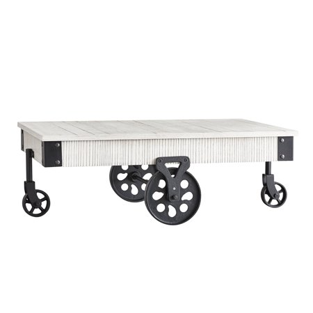 Cocktail Wheel - Weston Home Factory Metal Supports Cocktail Table with Functional Wheels