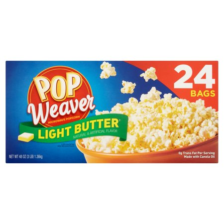Pop Weaver Light Butter Microwave Popcorn, 24 count, 48 oz