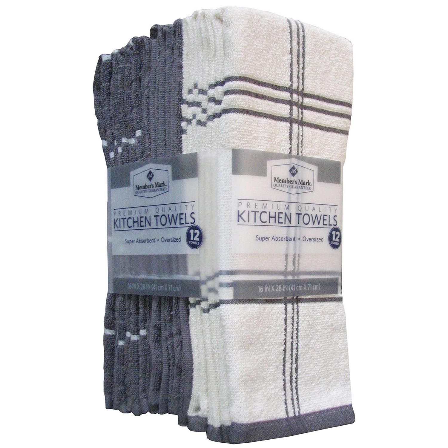 Memberu0027s Mark Kitchen Towels, 12 Pack, Gray