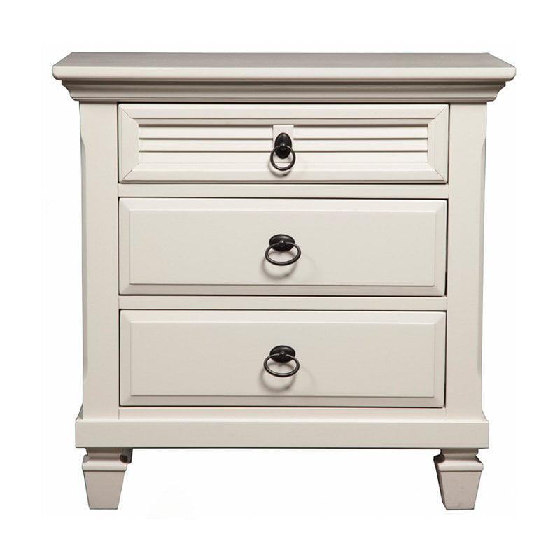 Alpine Furniture Winchester 3-Drawer Nightstand - White