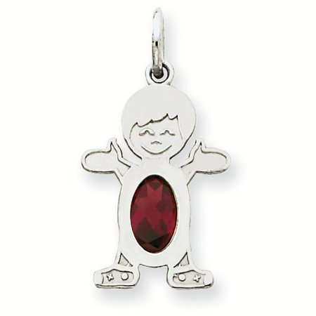 14K White Gold 6 x 4 Oval Genuine Garnet January Birthstone Boy Charm Pendant