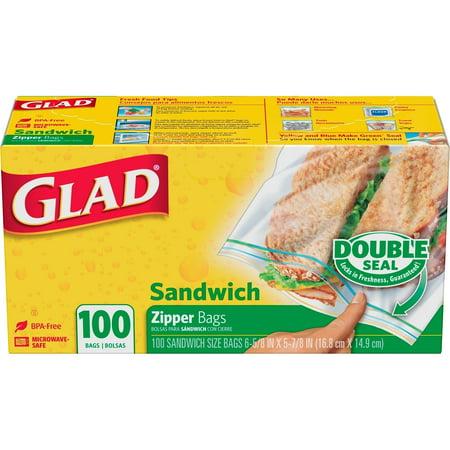 Glad Double Pinch   Seal Zipper Sandwich Bags  100 Ct
