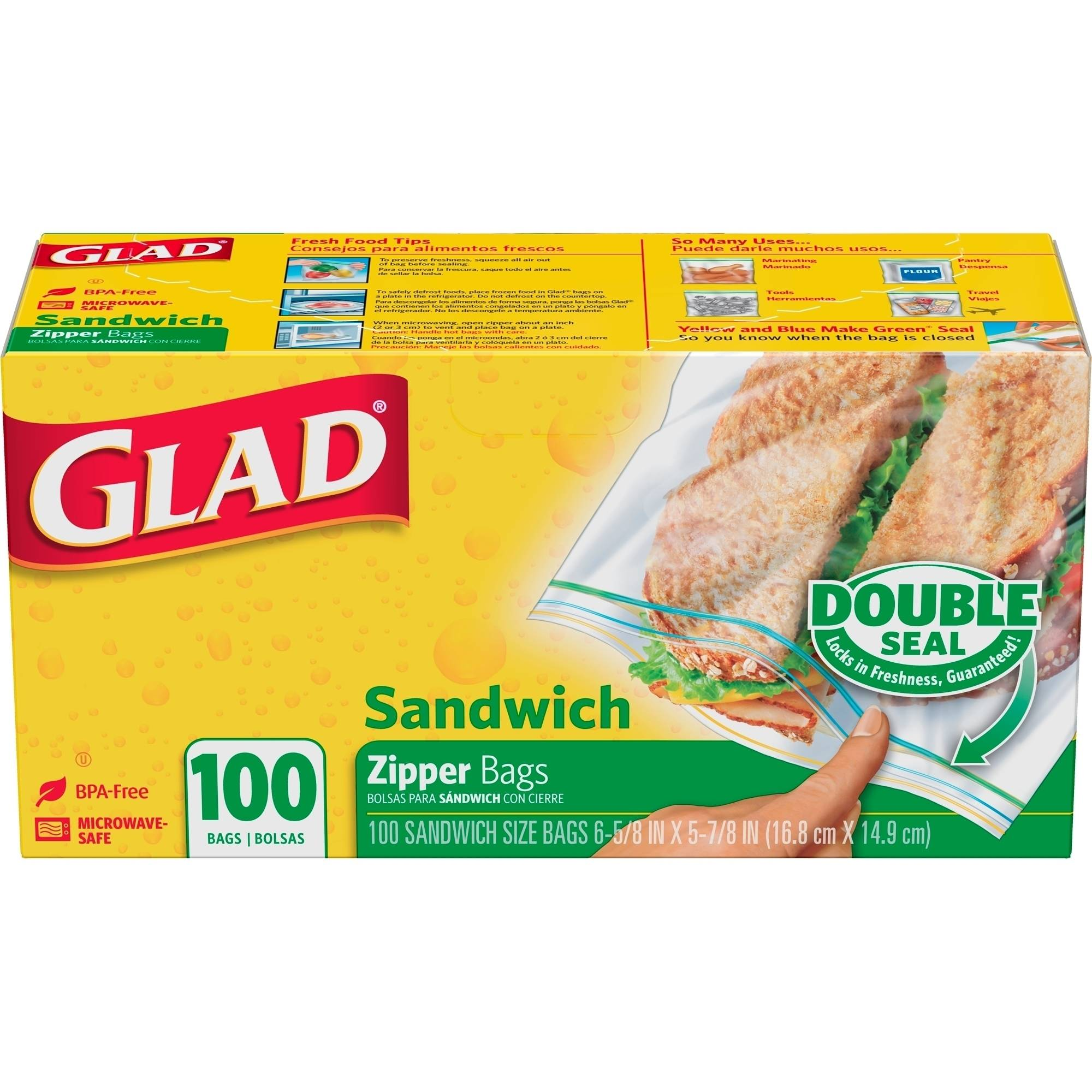 Glad Double Pinch & Seal Zipper Sandwich Bags, 100 Ct