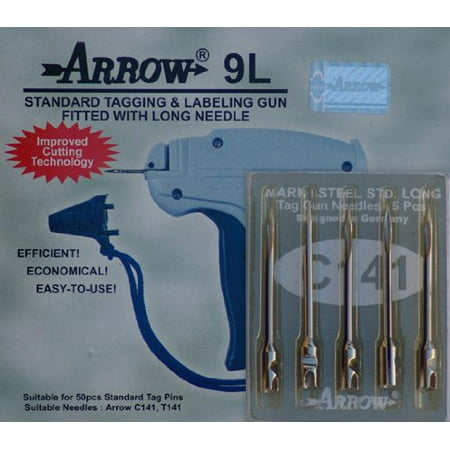 1 Arrow 9L STANDARD LONG NECK Tag Gun + 5 Spare Needles Combo Price Label Clothing Tagging Attacher with High Quality Steel Needles This is one of the most economical, efficient and popular standard tagging gun, making it operators preferred choice. This tag gun will not work with Fine Needles, if you need Fine Needles Tag Gun please type in the above search bar. To See all type of Tag Gun and Accessories Pleae Click    below the Title All of our products comply with international quality standards and are greatly appreciated.If you are interested in any of our products or would like to discuss a custom order, please feel free to contact us. High quality, good service.We are looking forward to forming successful business relationships with new clients around the world in the near future.