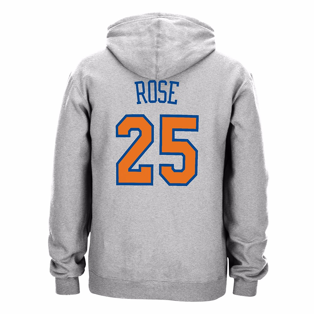 Derrick Rose New York Knicks NBA Adidas Grey Player Name & Numer Fleece Hoodie For Men