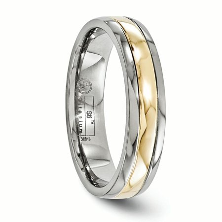 Jewelry & Watches Nice Titanium 14k Yellow Inlay 5mm Wedding Ring Band Size 10.50 Precious Metal Fine Bridal & Wedding Party Jewelry