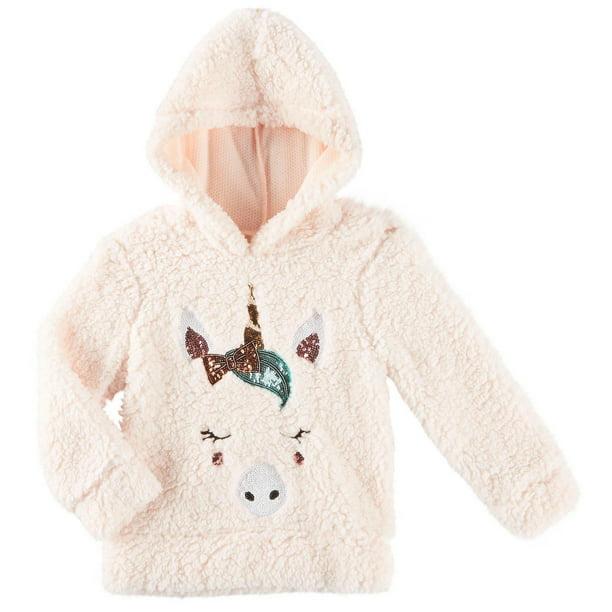 Girls Unicorn Sequin Sherpa Fleece Hoodie