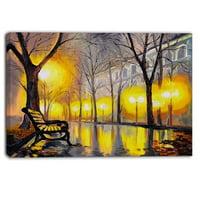 Design Art Empty Autumn Street Landscape Painting Print on Wrapped Canvas