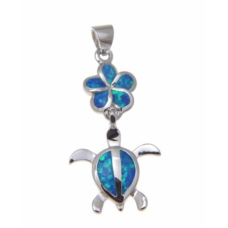 (Inlay opal Hawaiian plumeria honu sea turtle pendant 925 sterling silver 15mm)