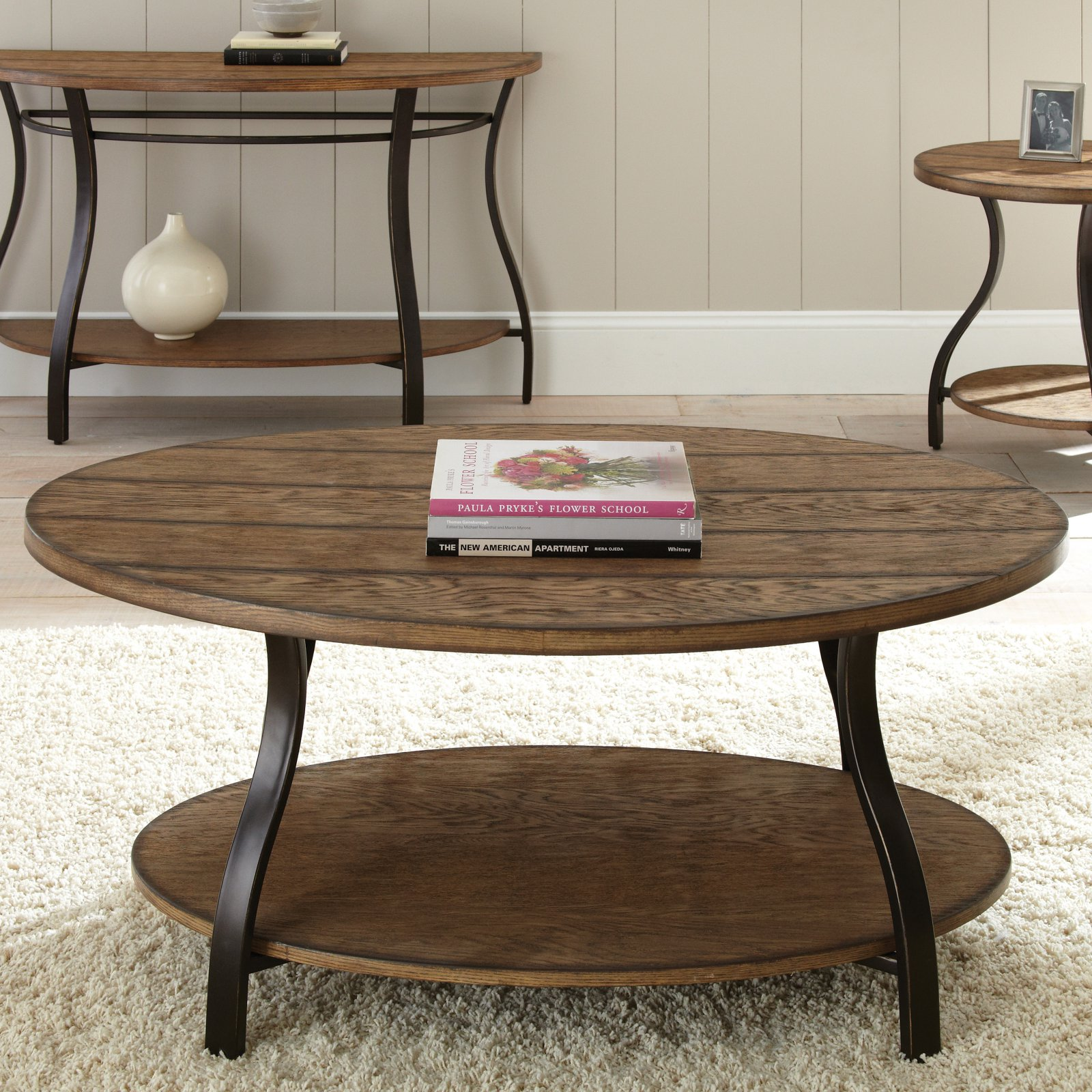 Steve Silver Denise Oval Light Oak Wood Coffee Table