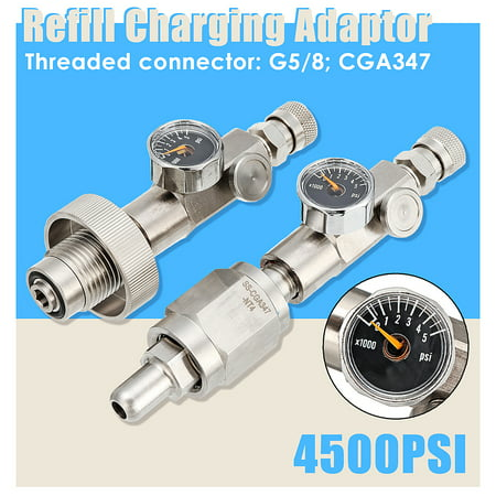 - G5/8 CGA347 Paintball PCP 300bar/4500PSI Din Filling Charging Adaptor airfilladaptor With Gauge