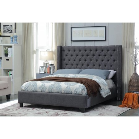 Meridian Furniture Ashton Queen Size Bed in Grey Chrome Nailheads Contemporary ()