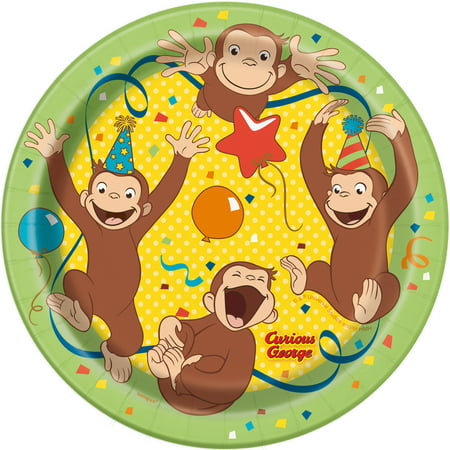 Curious George Paper Plates, 7in, 4-Pack (32 - Curious George Party Plates