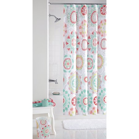 MainstaysTM Groovy Medallion Fabric Shower Curtain