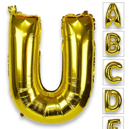 Just Artifacts Glossy Gold (30-inch) Decorative Floating Foil Mylar Balloons - Letter: U - Letter and Number Balloons for any Name or Number Combination! - Balloon With Name On It