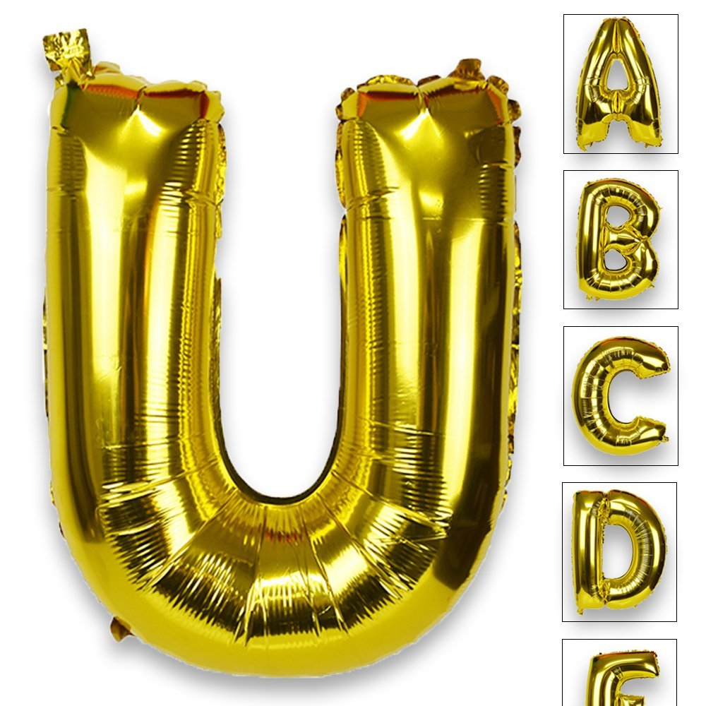 Just Artifacts Glossy Gold (30-inch) Decorative Floating Foil Mylar Balloons - Letter: U - Letter and Number Balloons for any Name or Number Combination!