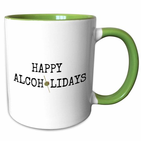 3dRose happy alcoholidays black letters with picture of olive on white back - Two Tone Green Mug, 11-ounce