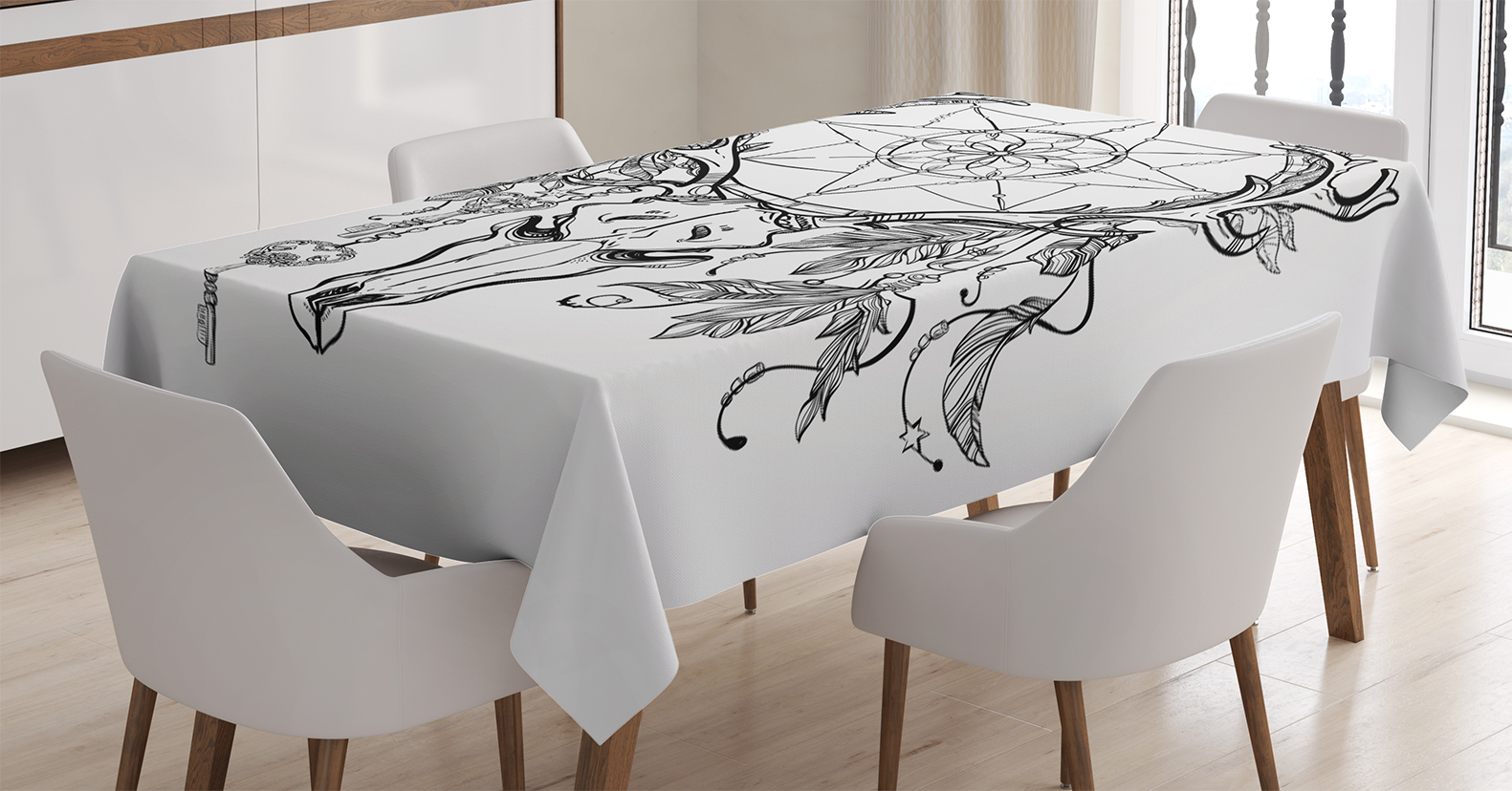 Tattoo Decor Tablecloth, Deer Skull With Feathers On Its Antlers As An  Accessory Holding A Star, ...
