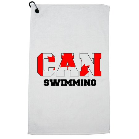 Canada Swimming - Olympic Games - Rio - Flag Golf Towel with Carabiner (Swimming Accessories Canada)