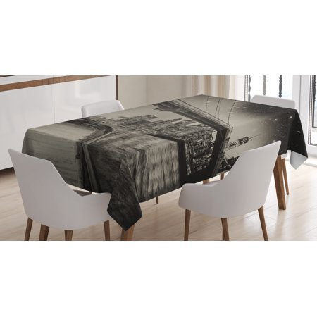 New York Tablecloth, Summer Night in Manhattan Brooklyn Bridge Park River Waterfront Modern City, Rectangular Table Cover for Dining Room Kitchen, 60 X 84 Inches, Dark Sepia Black, by