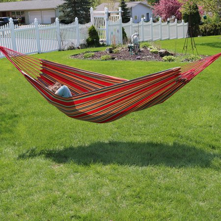 Sunnydaze Extra Large Brazilian Double Hammock with Carry Bag for Indoor or Outdoor Use, Weight Capacity: 450 Pounds, Sunset ()