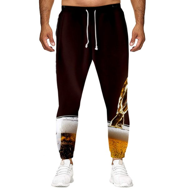 Gobestart Men's Casual Loose Long Pants Beer Festival New Style 3D Printing Trousers