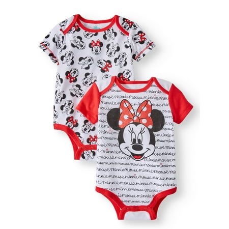 Minnie Mouse Graphic Bodysuits, 2-pack (Baby Girls) - Superhero Bodysuit