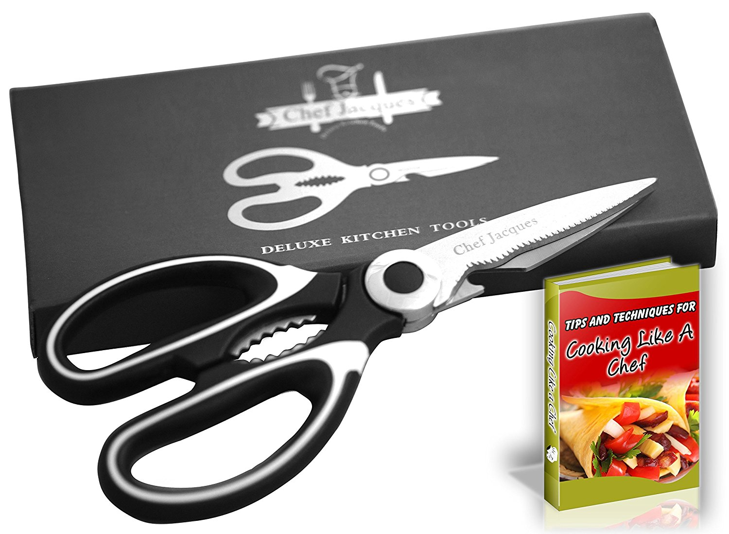 Chef Jacques Multipurpose Kitchen Scissors   Shears, Nut Cracker, Bottle Opener & Fish Scaling Tool |... by Chef Jacques America's Choice