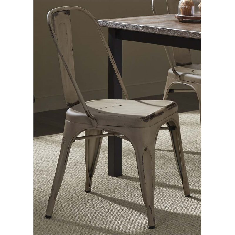 Liberty Furniture Vintage Metal Bow Back Dining Side Chair in White