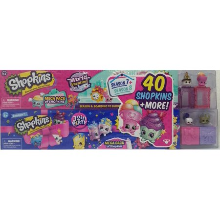 World Parts - Shopkins Mega Pack Bundle of 2, Season 7 Party & 8 World Vacation (Europe), 40 Shopkins