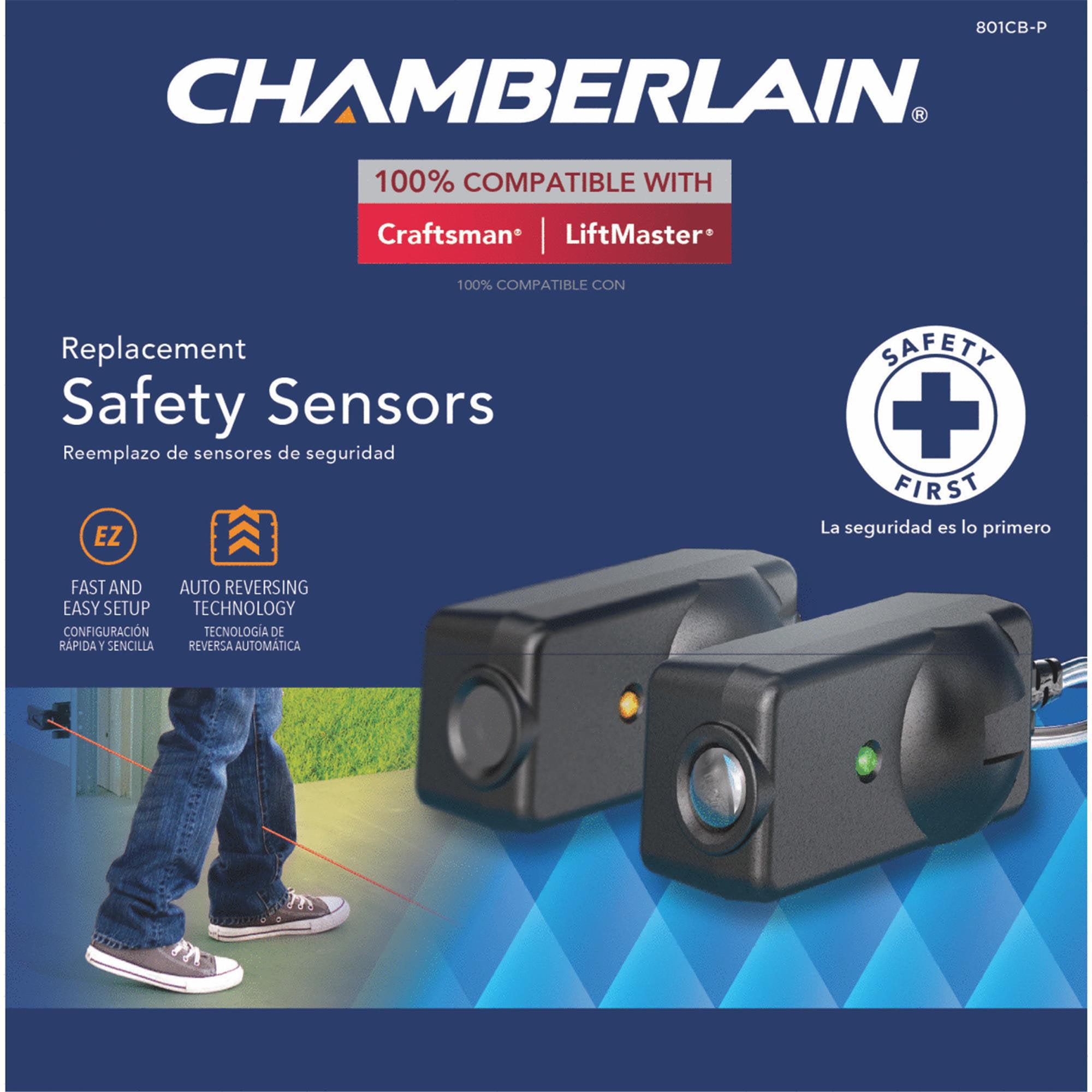 Chamberlain 801CB-P Black Garage Replacement Safety Sensors by Chamberlain