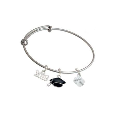Silvertone Small 3-D White Present Box with Bow - 2019 Graduation Charm Bangle Bracelet