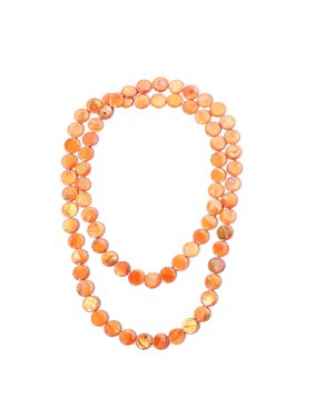 Beads Strand Endless Necklace for Women Orange Shell Jewelry Gift 46""