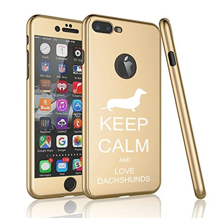 For Apple iPhone 360° Full Body Thin Slim Hard Case Cover + Tempered Glass Screen Protector Keep Calm And Love Dachshunds (Gold For iPhone