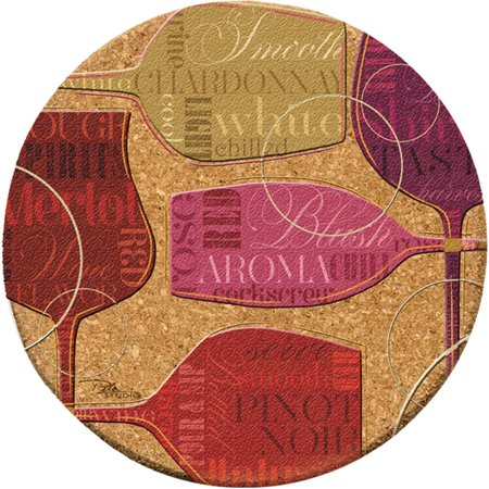 Grapes Wine Bottle Coaster - Thirstystone Cork Drink Coasters Set, Colorful Wine III