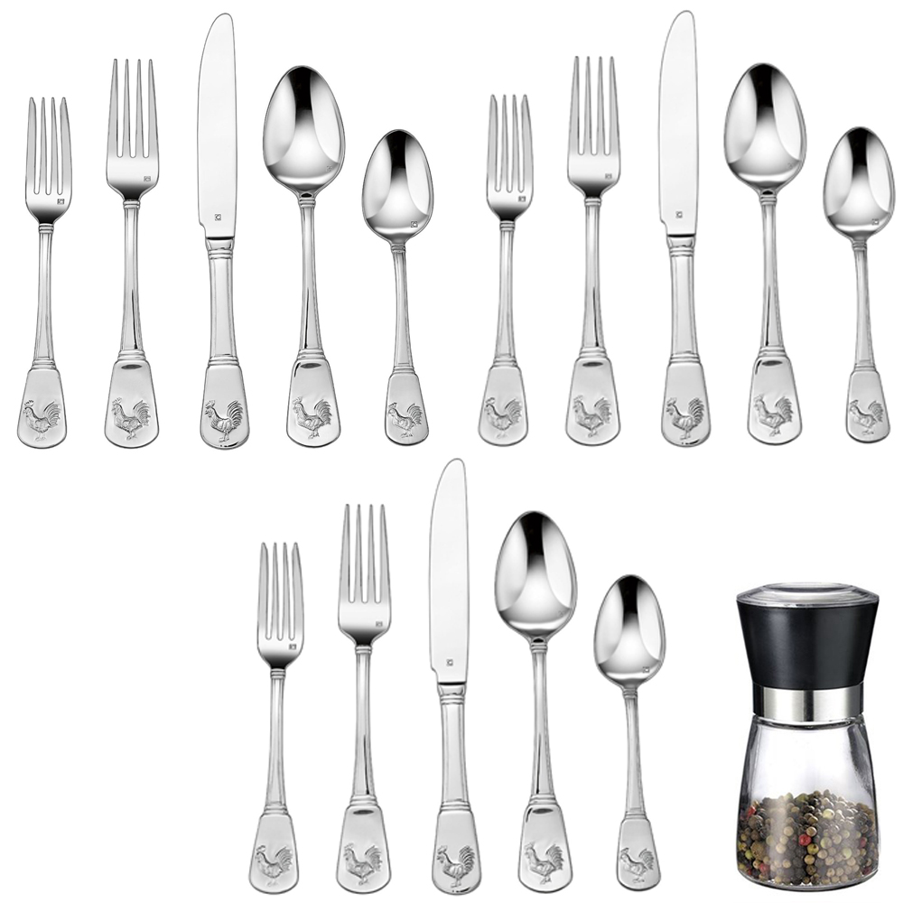 Cuisinart 60-Piece Flatware Set, French Rooster (CFE-01-FR20) with Deco Gear Spice Mill